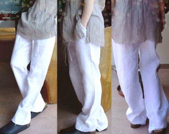 303---Women's Wide Leg Linen White Pants, Made to Measure.