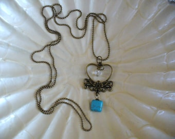 Heart Necklace, Heart of Gold Necklace, Turquoise Necklace, Bead Chain Necklace, Love Necklace, Re-Purposed, Antique Gold, MarjorieMae