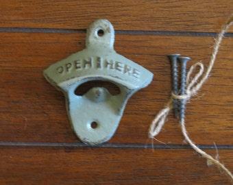 Sage Green Bottle Opener / Cast Iron Wall Mounted / Vintage Inspired / Mancave /Kitchen Decor/Gameroom/Patio/Groomsman Gift/Stocking Stuffer