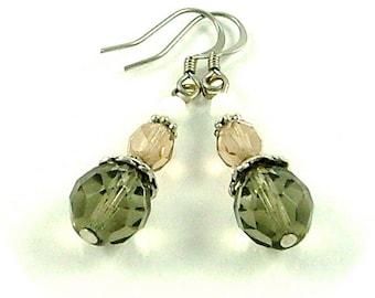 CLEARANCE - Winter White Czech Glass Beaded Earrings