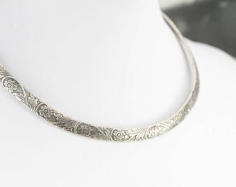Vintage Sterling Silver Collar Necklace, Floral Necklace, Roller Chocker D712VQJU-D