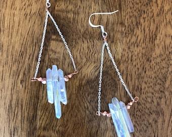 Quartz Earrings, White Titanium Coated Quartz with Copper