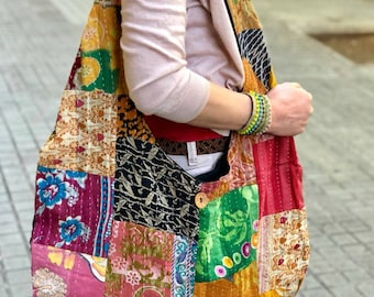 Patchwork cotton bag. Woven fabric bag. Hippie bag. Multicolored bag.