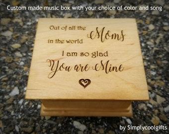 Mother's day, music box, wooden music box, custom music box, heart, personalized music box, best mom gift, mother's day music box,