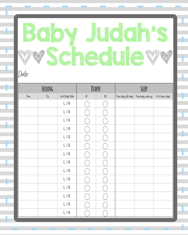 newborn feeding and diaper chart