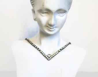Art Deco Necklace Vintage Crystal Rhinestone Choker Necklace Wedding Jewelery Rhinestone Crystal  NECKLACE Wedding Necklace Jewelry Bling