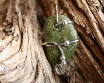 Wire Wrapped Green Unakite Stone