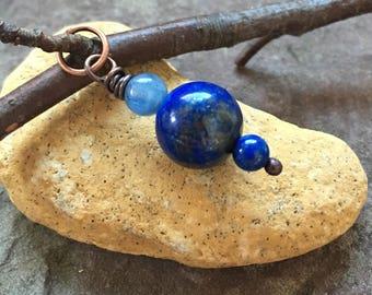 lapis pendant, natural lapis, copper wrapped jewelry