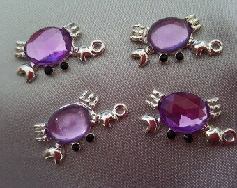 Crab purple rhinestone pendants