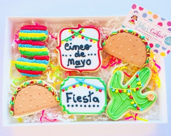 Cinco de mayo/Tacos/Fiesta/Mexican/party/pinata/cookie/sugar cookie/custom cookies/taco Tuesday/sugar cookies/cinco de mayo decorations