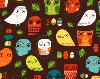 "Critter Community Retro Owls by Suzy Ultman for Robert Kaufman in Brown 34"" Remnant"