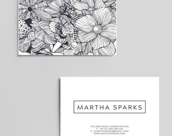 100 Luxury  Printed Business Card Uncoated or Laminated in Matt Gloss Velvet Black and White Floral Personalised contact cards / custom card