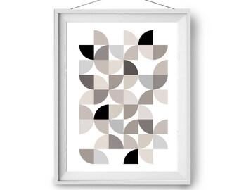 Geometric Art, Beige Print, Abstract Art, Brown Art, Modern Art, Scandinavian Print, Retro Art, Wall Print, A3 A2 Art Prints, Print Avenue