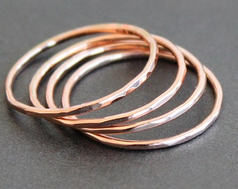 Skinny Rose Gold Filled 1mm Ring (1 Ring) - Smooth, Faceted or Hammered - 18 Gauge - Midi Ring - Thin Band