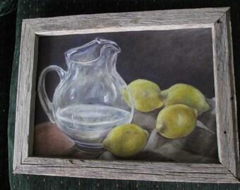 Lemon still life oil painting print