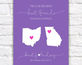 Best Friend Quote, The Love Between Best Friends Knows No Distance, Personalized Map Art, Canvas Digital Birthday Gift, Moving Away | WF95