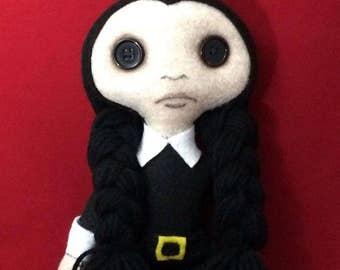 Handmade 16' in Wednesday inspired Doll.