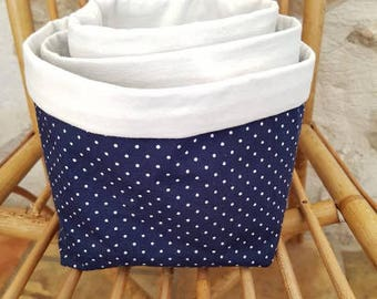 Set of 3 baskets Blue Navy polka dot