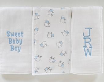 Monogrammed Burp Cloths, Baby Boy, Burp Cloths, Baby Burp Cloths, Burp Cloth Set, Baby Shower, Personalized Baby Gift, Boy Burp Cloths
