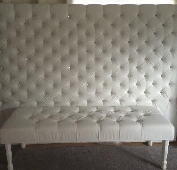 Extra Wide King Crystal Diamond Tufted Headboard And Bench Set