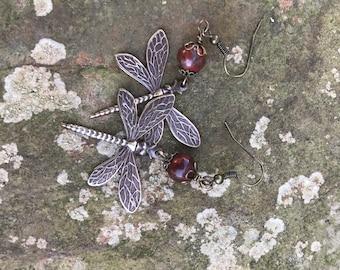 Dragonfly Bloodstone Earrings