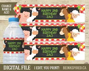 Farm Birthday, Water Bottle Labels, Personalized, Printable, Farm Party, Barnyard Petting Zoo Tractor Water Bottle Labels, ZAC, DIGITAL FILE