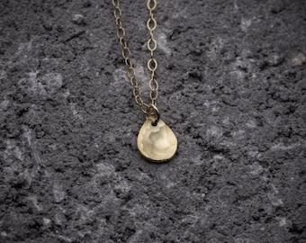 Drop charm, drop necklace, gold drop necklace, tiny necklace, dainty necklace, goldfilled necklace, everyday necklace, gift under 50.