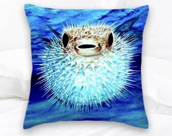 Puffer Fish Pillow | Beach Decor | Blow Fish | Ocean | Nautical Pillow | Pufferfish | Decorative Pillow | Sea Life Pillows | Fish Pillow