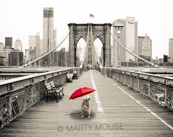 Martin Marty Mouse on the Brooklyn Bridge on a Rainy Day in NYC  - 8x10 Fine Art Print Antiqued Creamtone with Mat