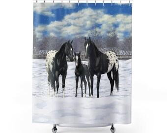 Black Appaloosa Horses In Snow Shower Curtain