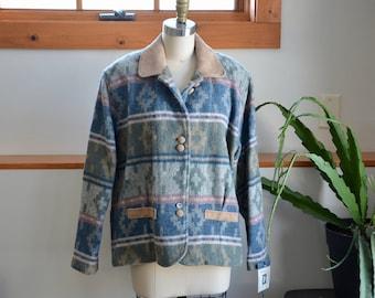 Southwestern Blanket Coat Woolrich Vintage Tribal Wool Jacket Ethnic Button Up Boho Winter Fall Spring Coat Women's Medium