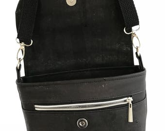 Black Cork crossbody shoulder bag with zip pockets