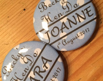 Personalised 'Hen-do' badges, set of three