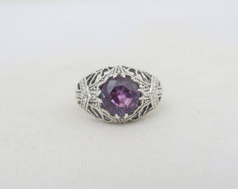 Vintage Sterling Silver Round cut Amethyst Filigree Ring Size 6