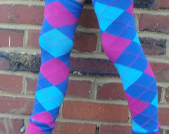 SALE - Blue and Pink Argyle Leg Warmers for Baby, Toddler, Kid, Tween - Arm Warmers for Kid, Tween - Boy or Girl - Birthdays, Baby Showers
