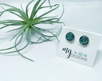 Rose stud earrings. Rose. Earrings. Handmade. Gift. Teal. Stud earrings. Rose.