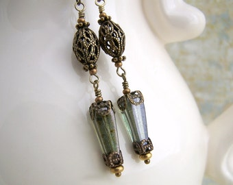 Victorian Earrings of Green and Brass - ornate filigree beads and finding with green Picasso Czech glass beads - Victorian Jewelry
