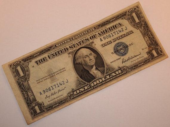 1935-F U. S. Ein Dollar Bill Silber Zertifikat Hinweis blau