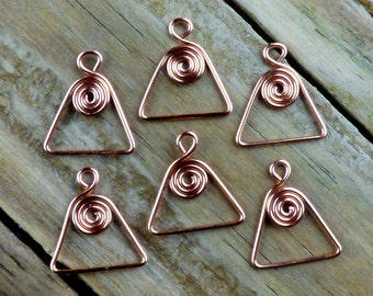 6 copper spiral in triangle charms or dangles in 20 ga copper wire for jewelry making, hand crafted, artisan made to order, more available.