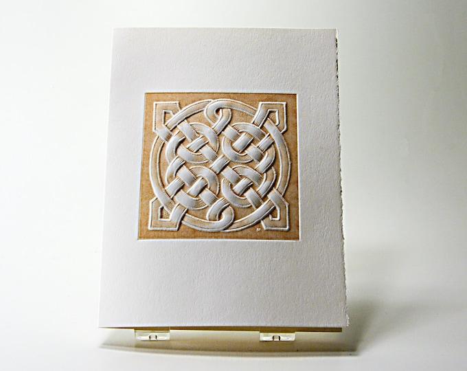 Celtic Square Love Knot Card. Letterpress. Embossed. Single Card. Blank Inside.