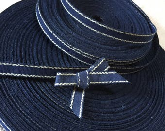 New Old Stock, French Vintage Navy Blue, Petersham, Millinery, Ribbon, Tape, Grosgrain.