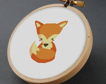 Fox Cross Stitch, Fox cross stitch pattern, Modern cross stitch , Animal cross stitch, Cute Orange Fox Cross Stitch Pattern PDF