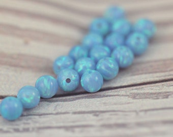 6MM Opal Beads / Loose Beads / Loose Opal / Round Beads / Opal Ball / Blue Fire Opal / Gemstone Beads / Jewelry Making / 10 pcs