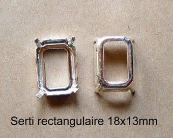 1 set rectangular cabochon in shiny silver, 2 sizes