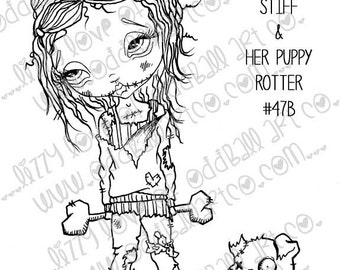 Digi Stamp SET OF 3 Digital Instant Download Big Eye Zombie Girl Image No. 47/47B/47C by Lizzy Love