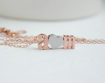Letter necklace, Rose Gold Necklace, Couples necklace, Initial Necklace, Love necklace