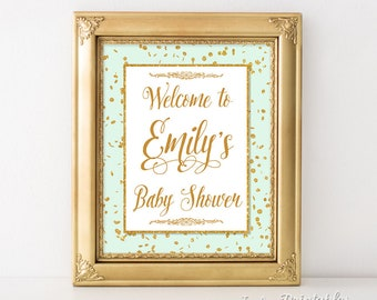 Personalized Baby Shower Welcome Sign, Mint Green and Gold Confetti Sign, Gender Neutral, DIY PRINTABLE