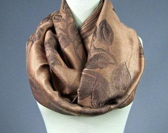 Camel Scarf, floral camel scarf, rose scarf, infinity rose camel scarf, pashmina infinity  scarf