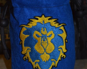 Dice Bag Alliance symbol World of Warcraft Embroidery on Blue Suede