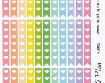Heart Banner Check List Planner Stickers | Heart List Stickers | Great For Erin Condren Life Planner | Use In Happy Planner | RB002
